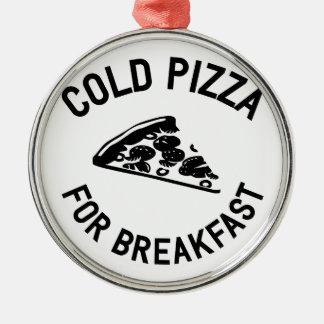 朝食のための冷たいピザ メタルオーナメント