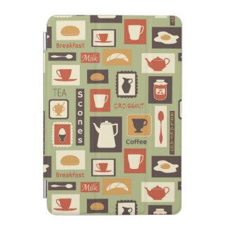朝食のための台所皿が付いているレトロパターン iPad MINIカバー