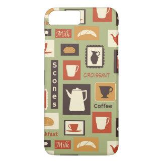 朝食のための台所皿が付いているレトロパターン iPhone 8 PLUS/7 PLUSケース