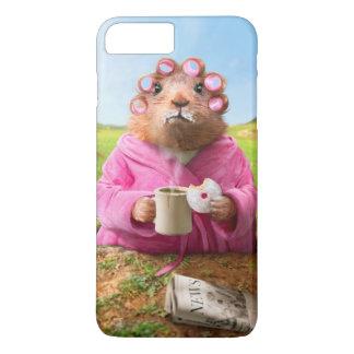 朝食のドーナツおよびコーヒーとの朝Groundhog iPhone 8 Plus/7 Plusケース