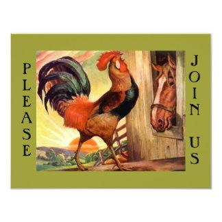 朝食の大会の社会的なオンドリのパーティの招待状 カード