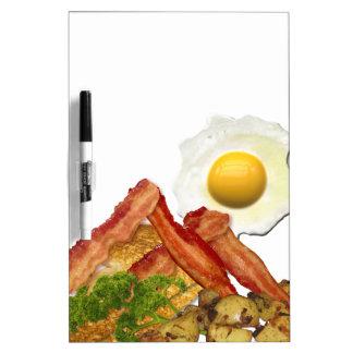 朝食の景色のベーコンの卵 ホワイトボード