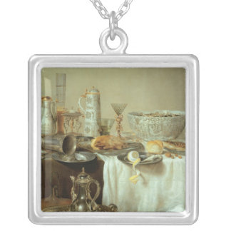 朝食の静物画1638年 シルバープレートネックレス