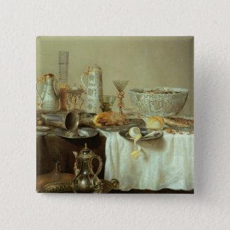 朝食の静物画1638年 5.1CM 正方形バッジ