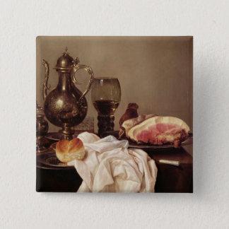 朝食の静物画(パネルの油) 5.1CM 正方形バッジ