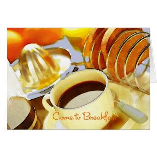 朝食をすますために来られるジュースおよびジャワ カード