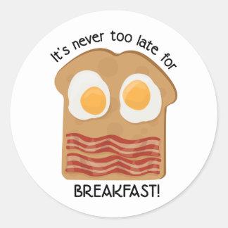 朝食! 丸形シール・ステッカー