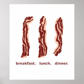朝食、昼食および夕食ポスターのためのベーコン ポスター