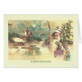 木およびおもちゃのクリスマスカードとのヴィンテージサンタ カード