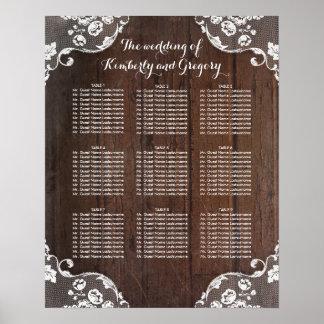 木およびレースの素朴な結婚式の座席の図表 ポスター