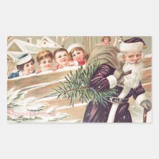 木および子供のヴィンテージのセントニコラス 長方形シール