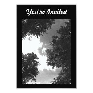 木および空の粒状の白黒イメージ 12.7 X 17.8 インビテーションカード