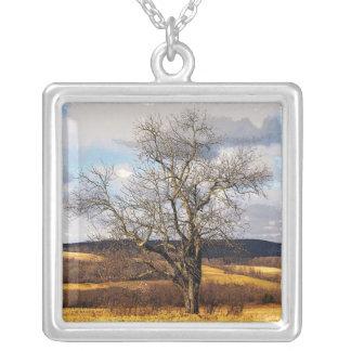 木および遠い丘 シルバープレートネックレス