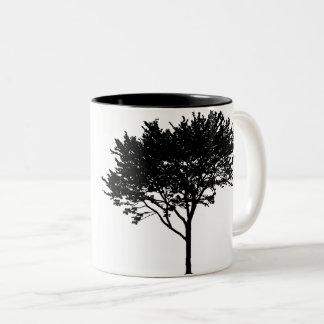 木および鳥のマグ ツートーンマグカップ