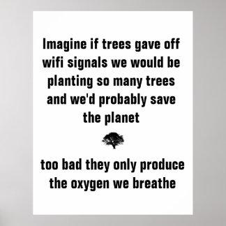 木が私達によってがあるwifi信号を放ったら想像して下さい ポスター