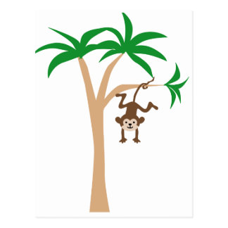 木でつるしている猿 葉書き