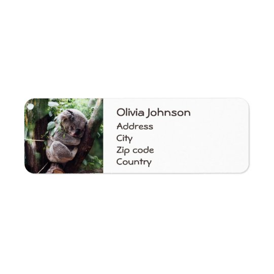 木でリラックスしているかわいいコアラ 返信用宛名ラベル