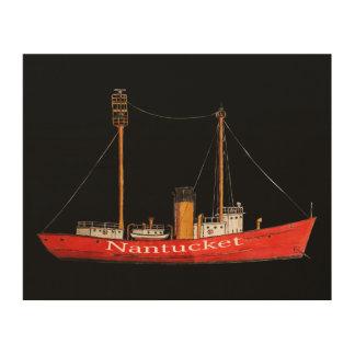 木で印刷されるスケッチのnantucketのlightship ウッドウォールアート