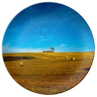 木とのイタリアの景色 磁器プレート