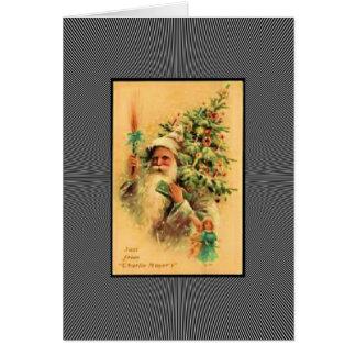木とのヴィンテージサンタ カード