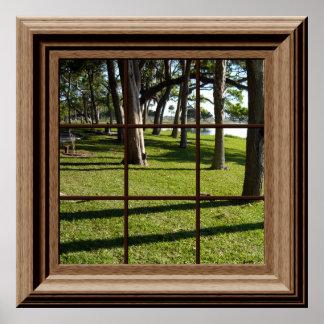 木との模造のな窓ポスター平和な景色 ポスター