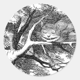 木に隠れるチェシャー猫 ラウンドシール