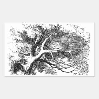 木に隠れるチェシャー猫 長方形シール