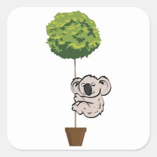 木のかわいいコアラ スクエアシール