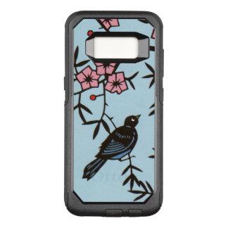 木のかわいらしいピンクの花の黒い鳥 オッターボックスコミューターSamsung GALAXY S8 ケース