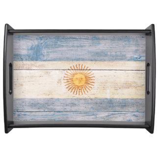 木のアルゼンチンの旗 トレー