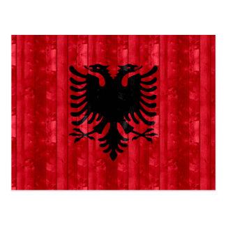 木のアルバニアの旗 ポストカード