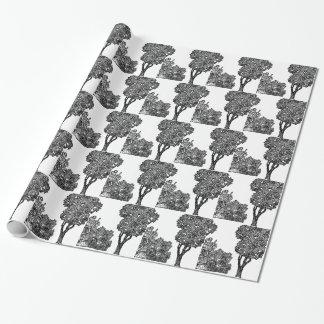 木のイラストレーション ラッピングペーパー