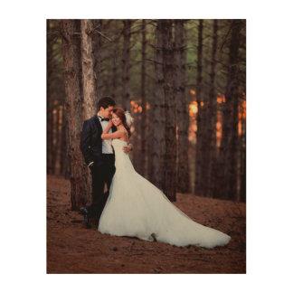 木のカスタムな結婚式の写真の芸術のプリント ウッドウォールアート