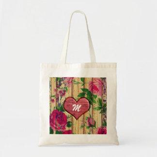 木のガーリーなモノグラムの花柄 トートバッグ