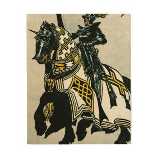 木のキャンバスの馬上の騎士 ウッドウォールアート