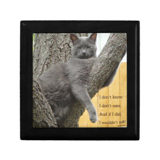 木のギフト用の箱の灰色猫を知らないで下さい、気にしないで下さい ギフトボックス