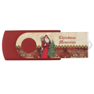 木のクリスマスの記憶のヴィンテージサンタ USBフラッシュドライブ