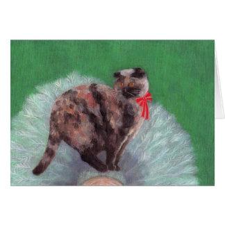 木のクリスマスカードの猫 グリーティングカード