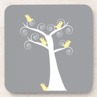 木のコルクのコースターの5羽の黄色い鳥 コースター
