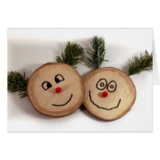 木のシカの顔、幸せな休日 カード