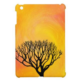 木のシルエット(オレンジ日が差すこと) iPad MINIケース