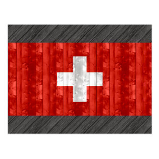 木のスイスの旗 ポストカード