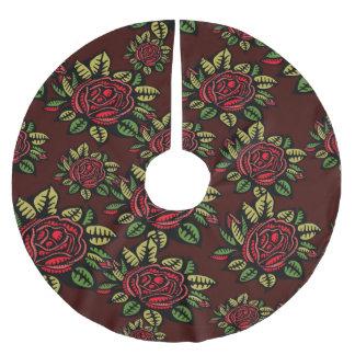 木のスカートのクリスマスのレトロの赤いバラのぼろぼろの上品 ブラッシュドポリエステルツリースカート