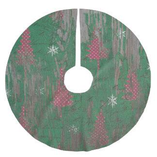 木のスカートの素朴なクリスマスツリーの休日 ブラッシュドポリエステルツリースカート