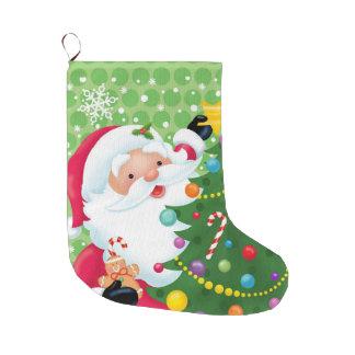 木のストッキングを飾っているサンタ ラージクリスマスストッキング