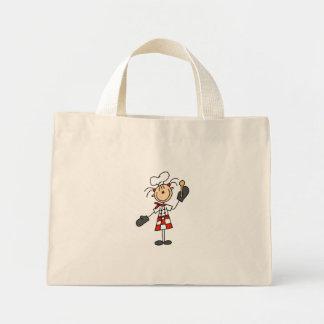 木のスプーンのバッグを持つシェフの女の子 ミニトートバッグ
