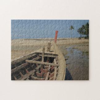 木のタイのボートのパズル ジグソーパズル