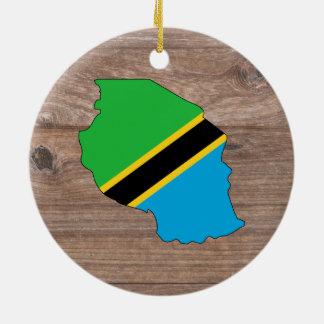 木のチームタンザニアの旗の地図 セラミックオーナメント