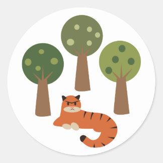 木のトラ ラウンドシール