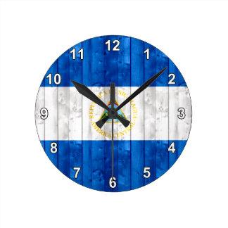 木のニカラグアの旗 ラウンド壁時計